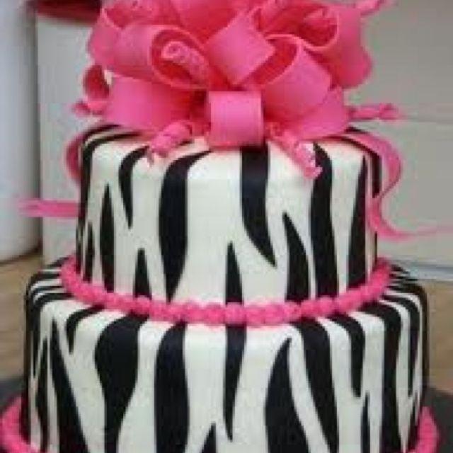 Zebra print birthday cake Madisyn Sweets Cakes Pinterest Zebra