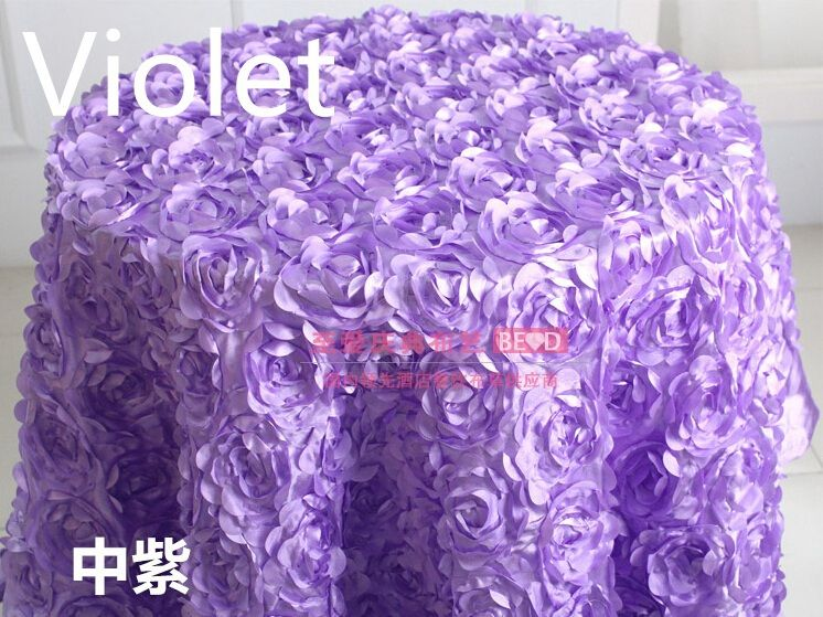 rosette table clothviolet colour rosette embroider table coverfor wedding hotel party and restaurant round tables decoration