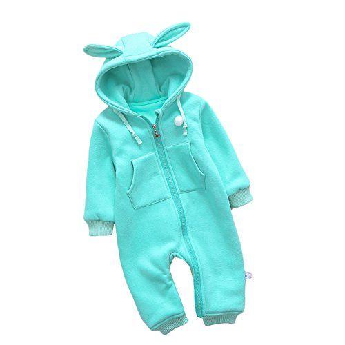 5b746308f2d8 Eforoutdoor Baby Warm Romper Rabbit Hoodie Jumpsuit Spring Autumn Winter  Onesies 73cmbaby height6570cm green     For more information