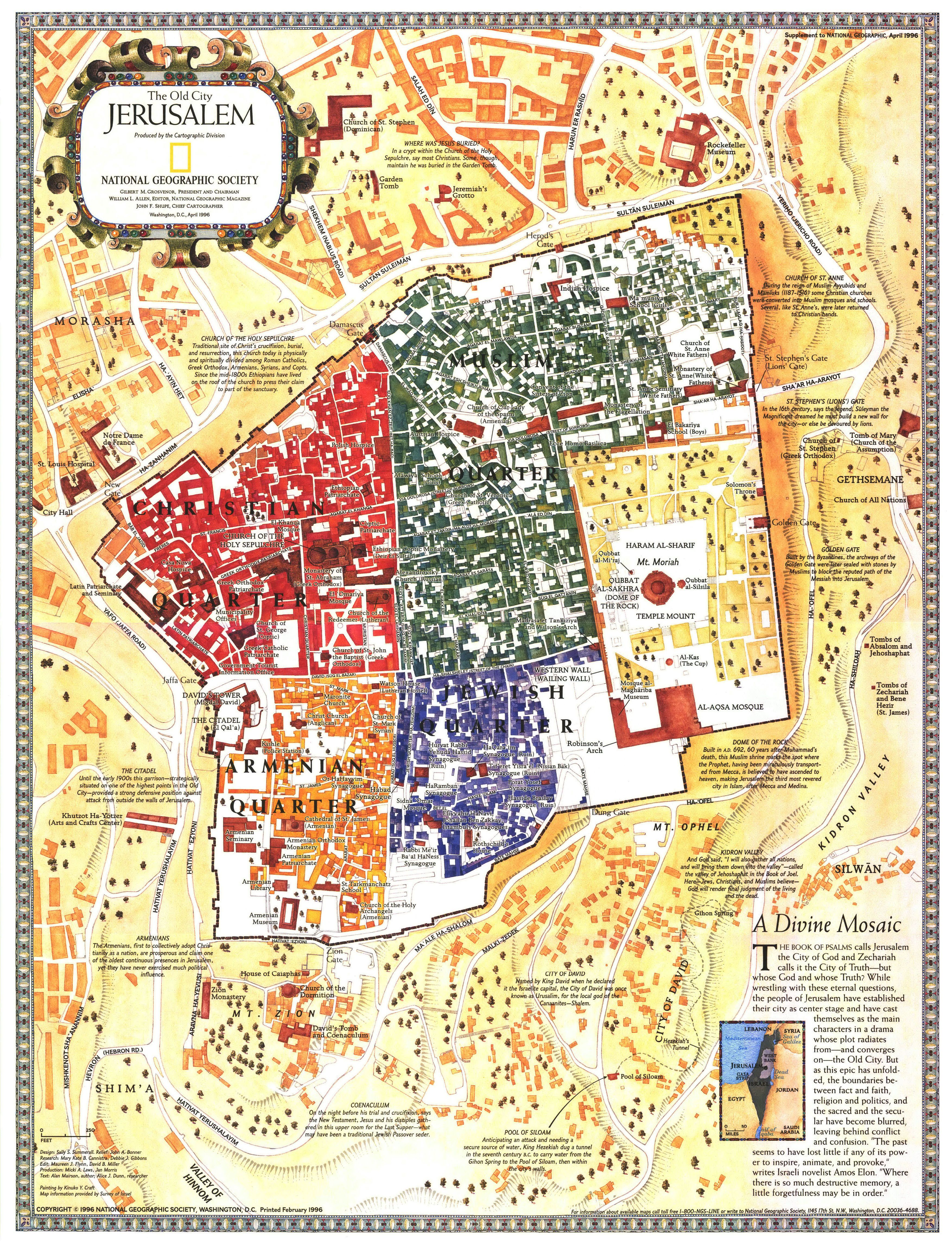 Old City Jerusalem Israel Map By National Geographic
