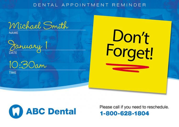 Dental Appointment Reminder Postcard Dental Postcard Design Template For Dentist Direct Mail Postcards Dentist Advertising Dental