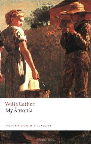 """My Antonia, by Willa Cather. This novel is set in the pioneer days of the American prairies, in a small European immigrant settlement. Narrator James recounts growing up on the farm and the harsh realities of families fighting to survive with next to nothing in a harsh Nebraska climate. The story spans thirty years and focuses on James' friendship with the Bohemian immigrant girl Antonia. Good ole' early American lit: starving pioneers, landscape description, and """"New World"""" idealism."""