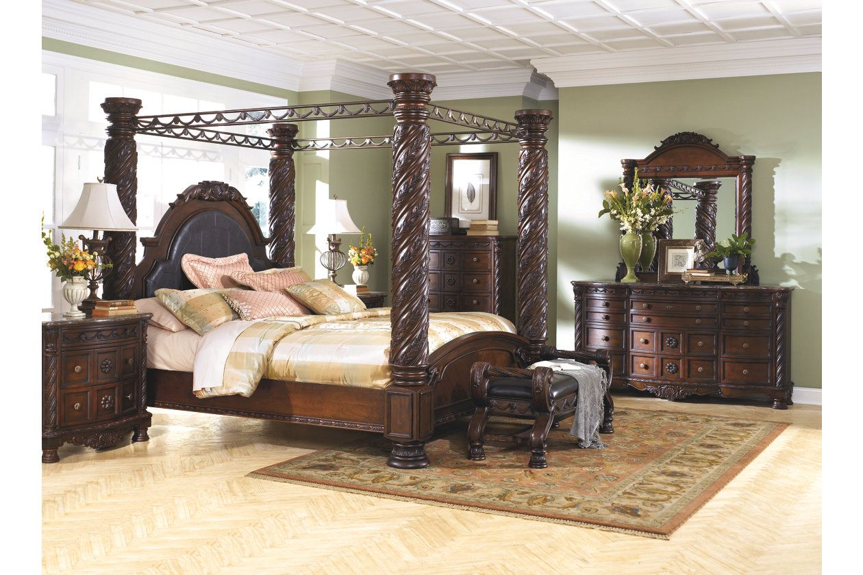 North Shore King Poster Bed with Canopy Ashley Furniture