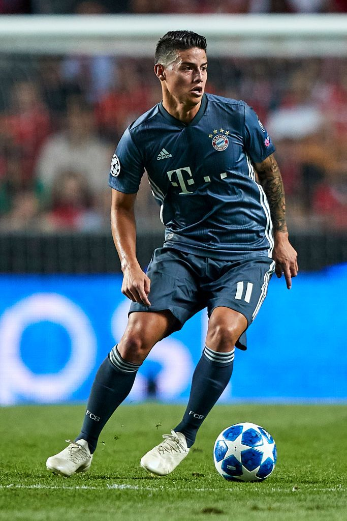 LISBON, PORTUGAL - SEPTEMBER 19: James Rodriguez of Bayern Munich in action during the Group E match of the UEFA Champions League between SL Benfica and FC Bayern Muenchen at Estadio da Luz on September 19, 2018 in Lisbon, Portugal. (Photo by Quality Sport Images/Getty Images)