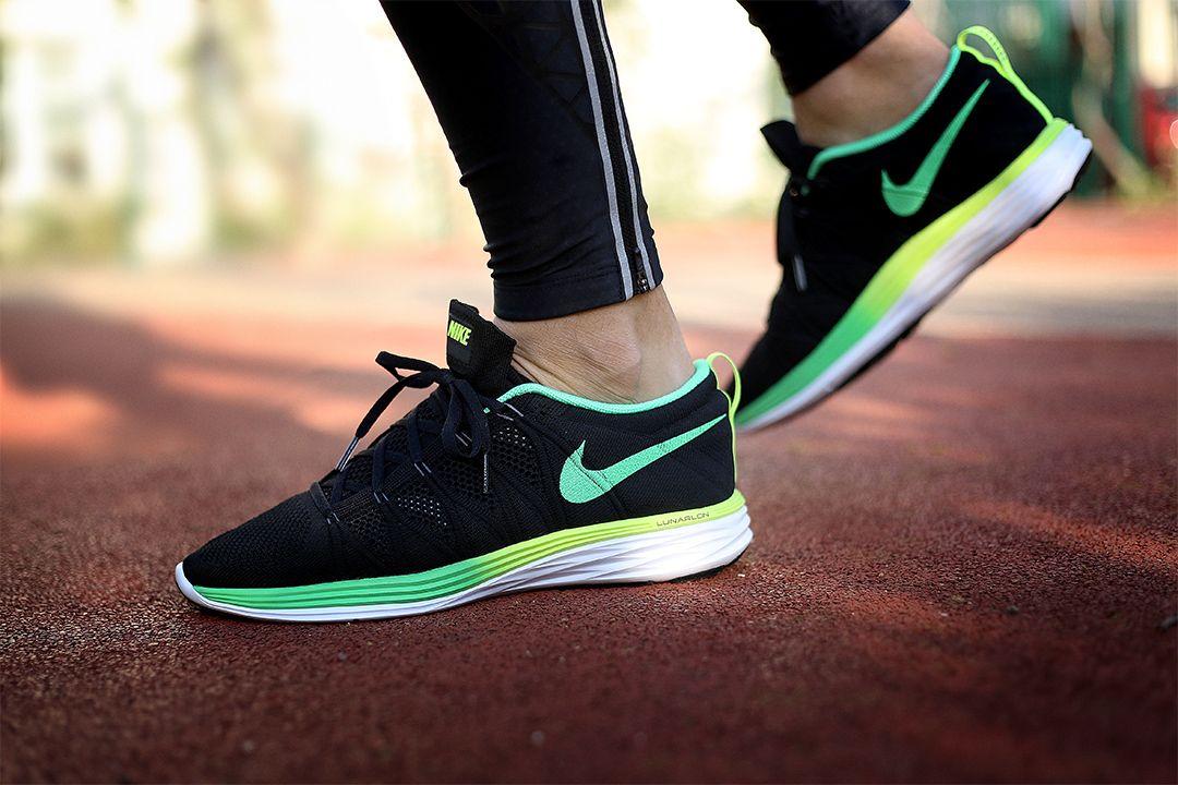 Women's Sneakers : Picture Description Nike Flyknit Lunar 2 ID Black /Volt/Green