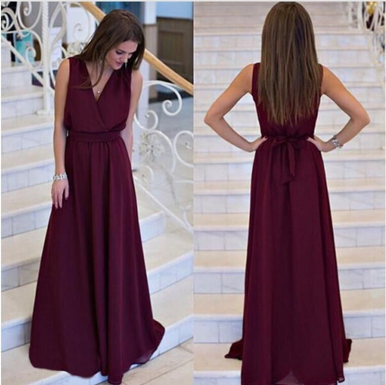 Women Casual Style V-Neck Fit And Flare Sleeves Dress Solid Floor Length Summer New Arrival Fashion