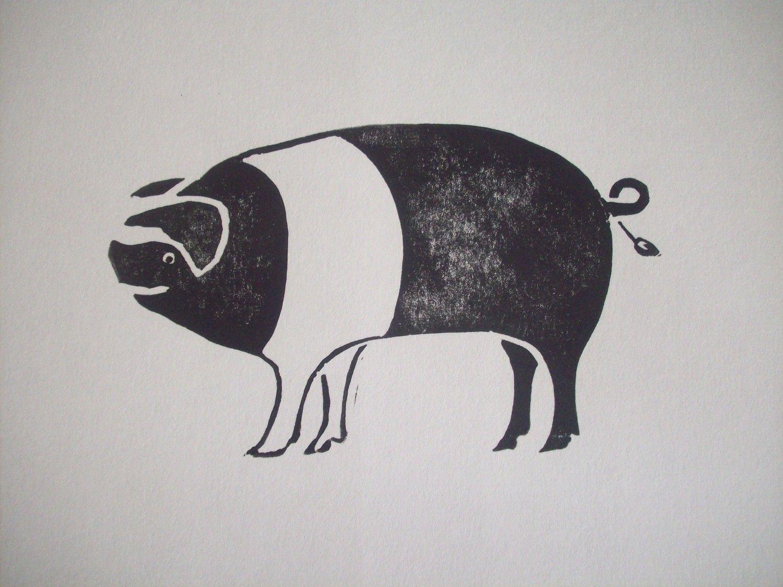 Pig - linoleum block print - Sharon Lorenz, U.S.A. | Print ...