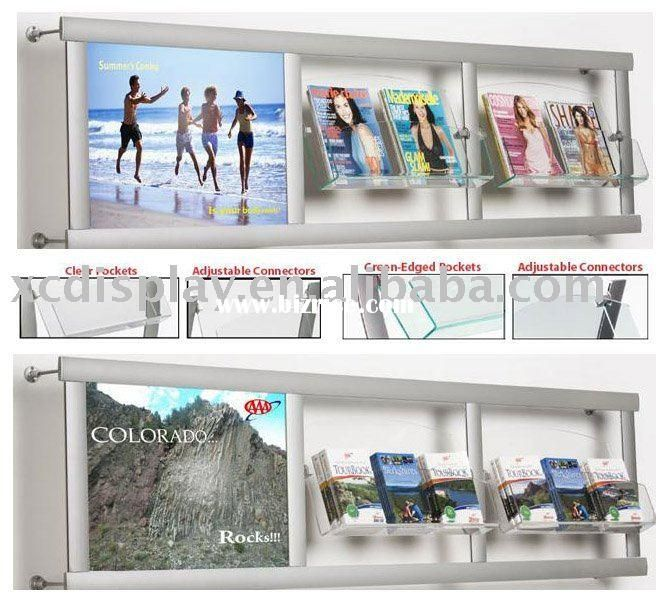 Wall Mounted Brochure Literature Holder Magazine Rack With Poster Frame Store Signage Magazine Rack Poster Frame