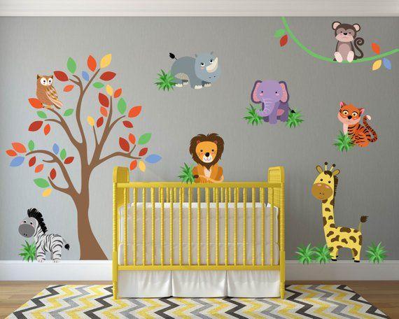 jungle wall decal, jungle nursery decor, safari wall decals, safari