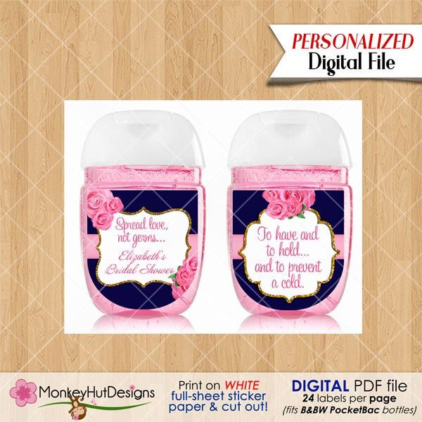 Mini Hand Sanitizer Favors Pocketbac Labels Bridal Shower Favors