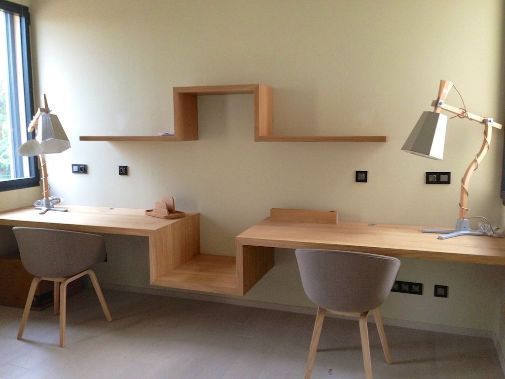 Notre bureau suspendu s te maison contemporaine en for Idee decoration bureau maison