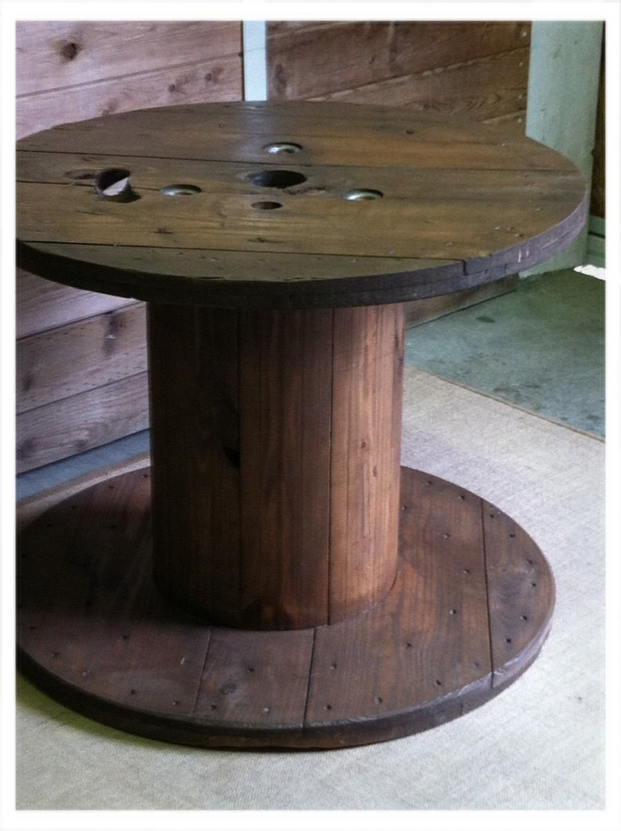Repurposed cable spool table, refinished with organic stain. #cablespooltables Repurposed cable spool table, refinished with organic stain. #cablespooltables