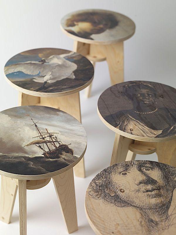 Art craft plywood print stools from piet hein eek for Design stuhl freischwinger piet 30