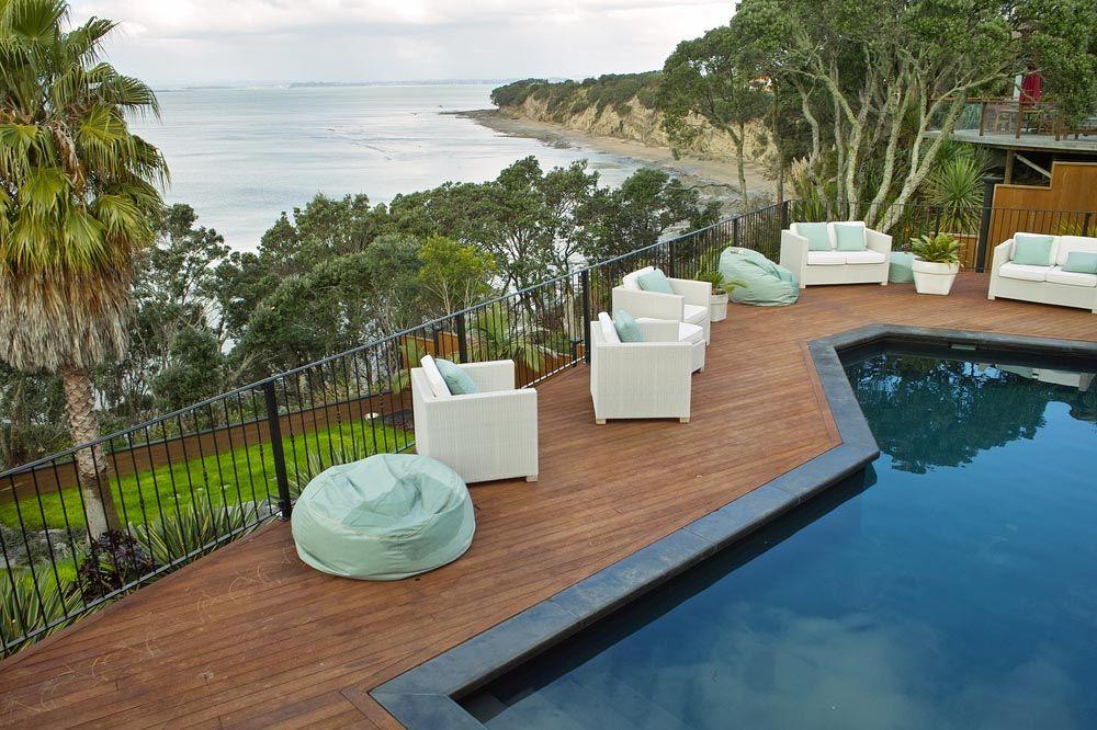 wood deck around inground pool   decoración de interiores