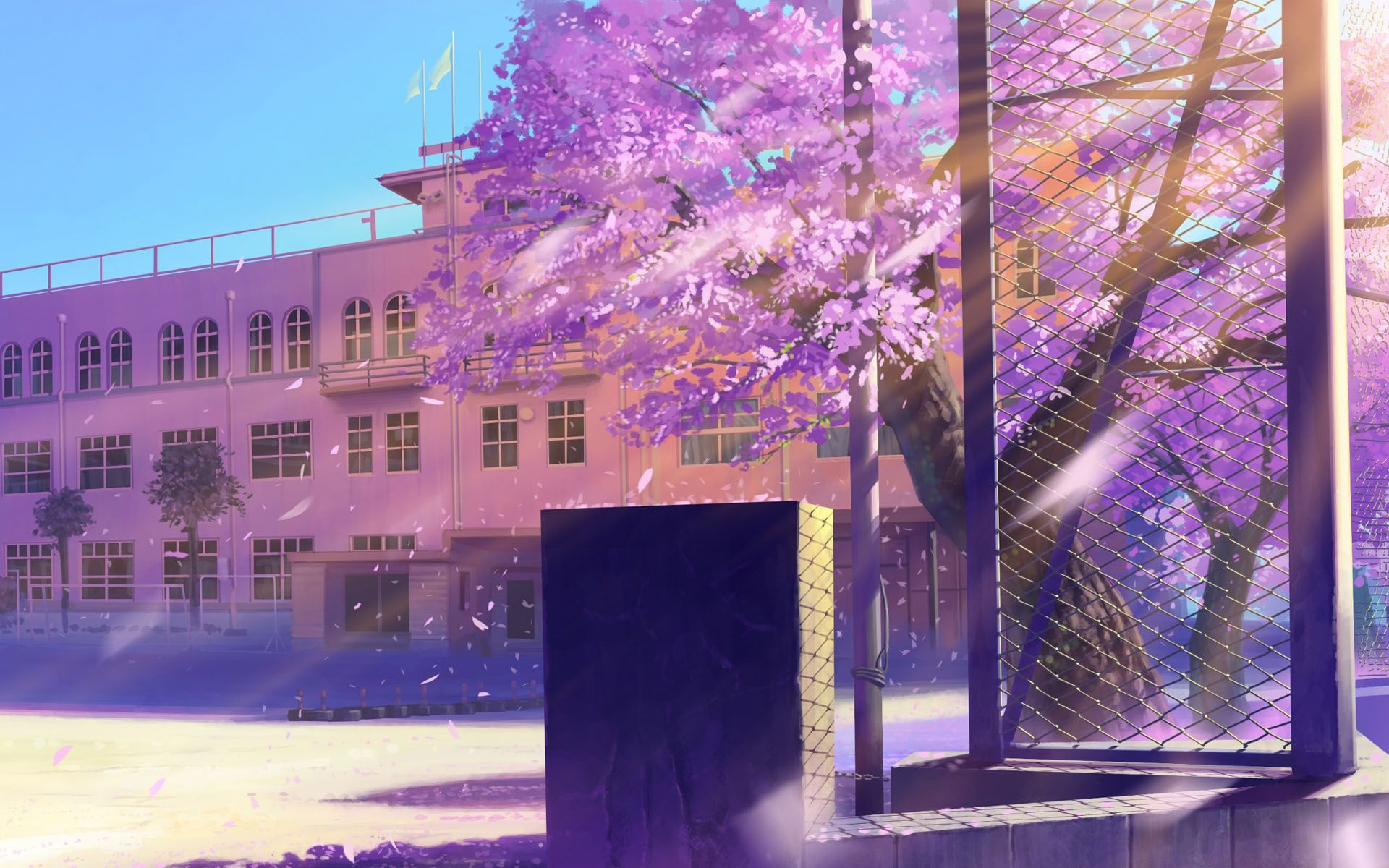 Anime School Architecture Hd Wallpaper Papel De Parede De Fundo
