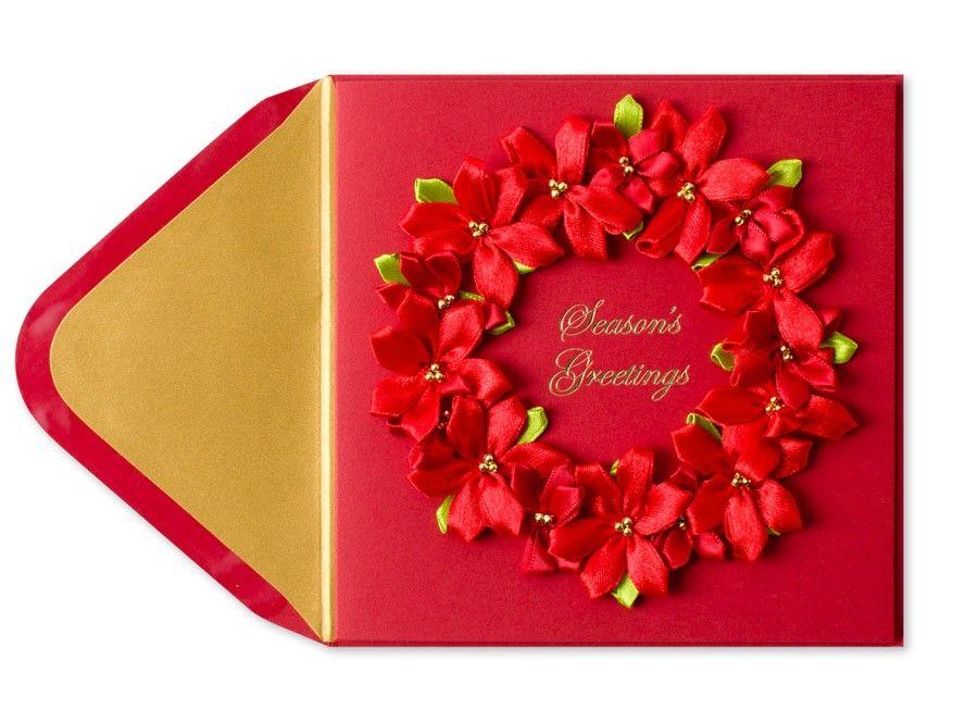 Ribbon Floral Wreath Holiday Card | Simply Random | Pinterest ...