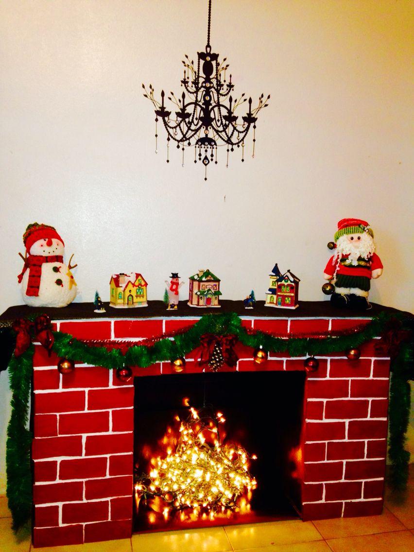 cardboard fireplace chimenea de carton noël pinterest fire