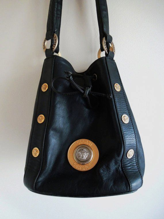 Authentic Gianni Versace Vintage Black Leather Shoulder Bag With Gold Studs