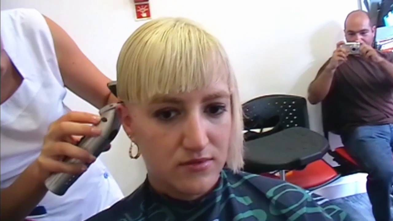 Assymetric Bowl Haircut In An Extreme Hair Change Made In A