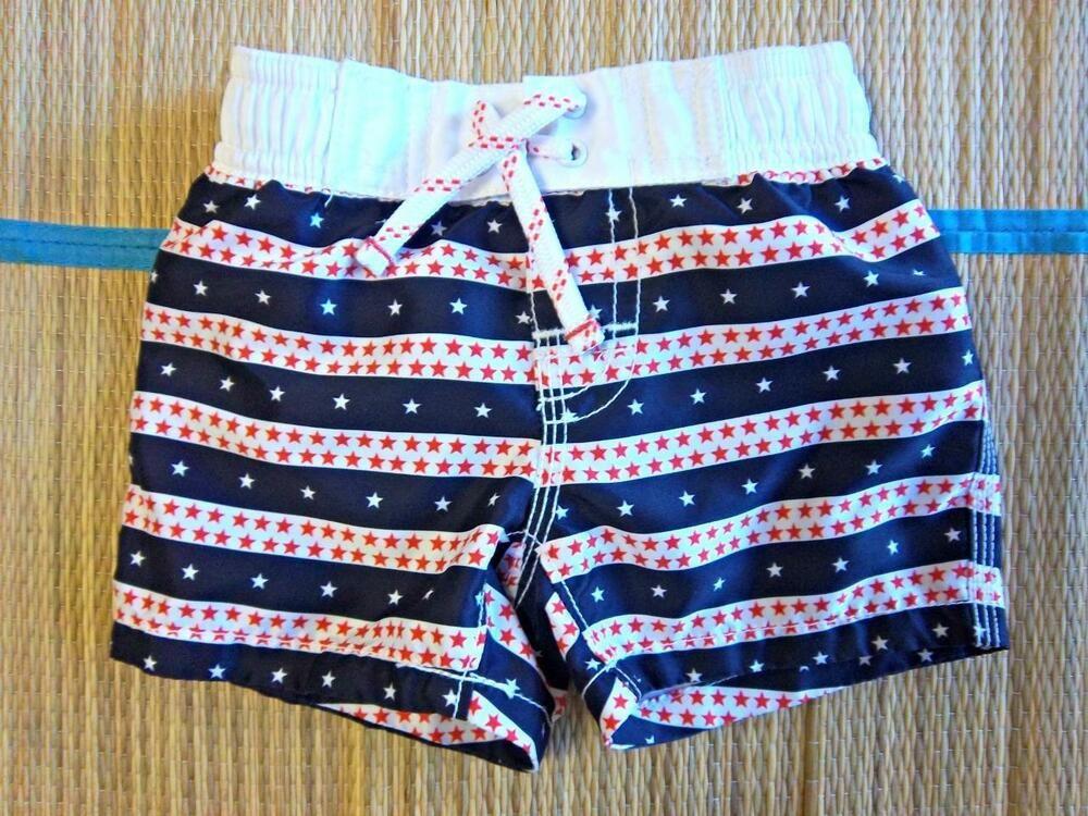 c61c884a20 BABY GAP Infant Boys Size 0-6 MO Swim trunks Swimsuit - Stars and Stripes  Lined #BabyGap #SwimBottoms