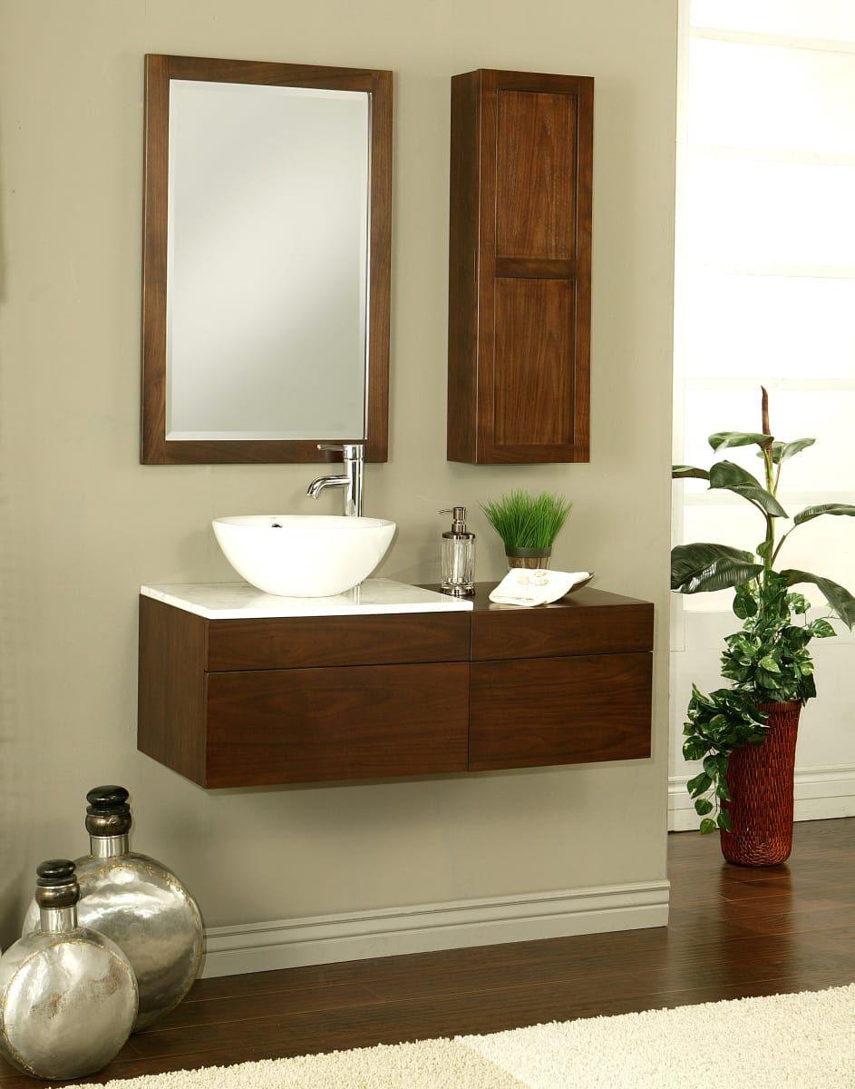 Sagehill Designs Mt2418d Walnut Modesta 24 Wall Mount Wood Vanity Cabinet Only