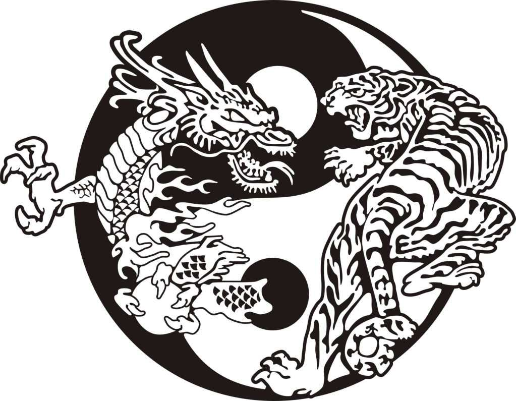 Yin Yang Dragon And Tiger Tattoo Design Tattoo Ideas Art Yin