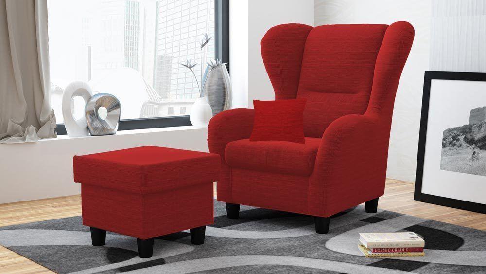 Ohrensessel Sessel Ohrenbackensessel Polstersessel rot meliert Neu - wohnzimmer braun rot