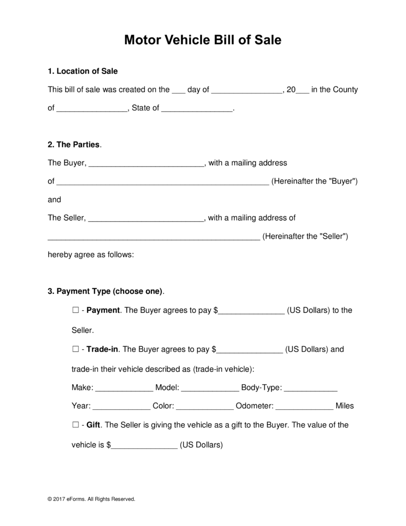 Free Motor Vehicle Dmv Bill Of Sale Form Word Pdf