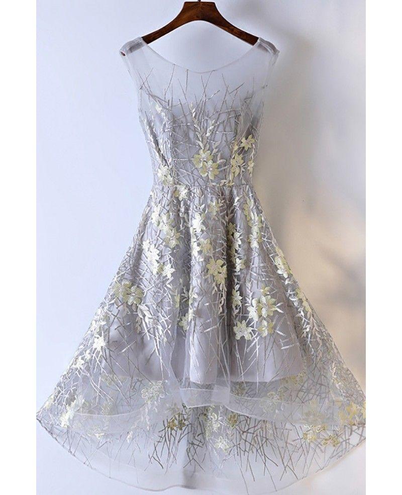 Unique flower lace short prom party dress a line myx