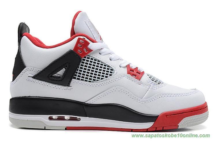 Sites De Tenis 308497 110 Air Jordan 4 Retro Branco Vermelho Preto