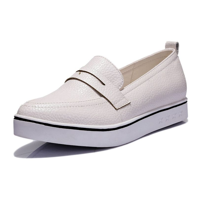 Ladies Casual Pointed Toe Slip-on Platform Loafers Fashion White Women Flat Shoes  Low Heeled