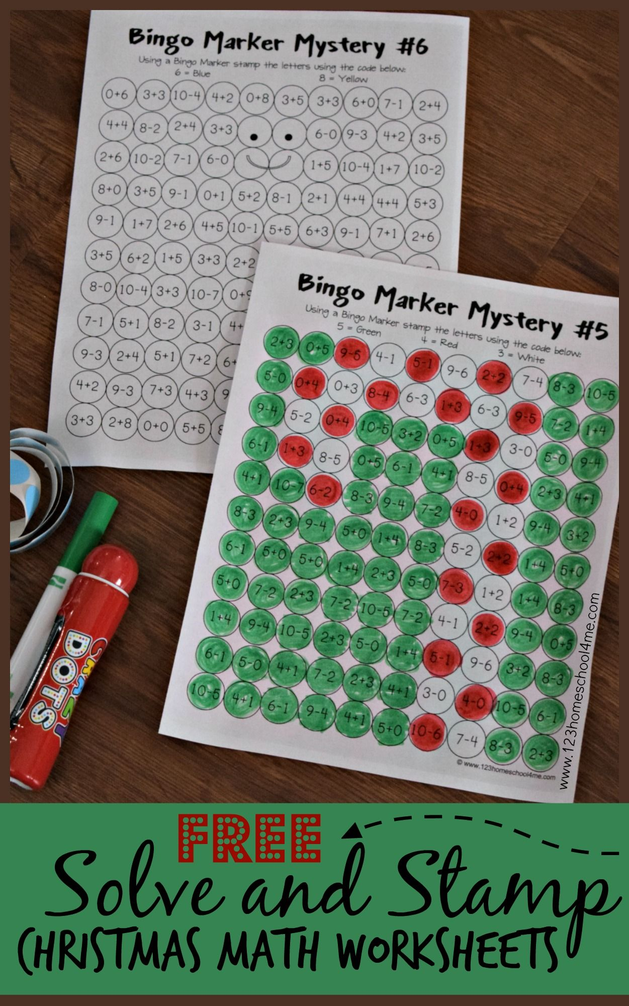 Solve And Stamp Christmas Math Worksheets