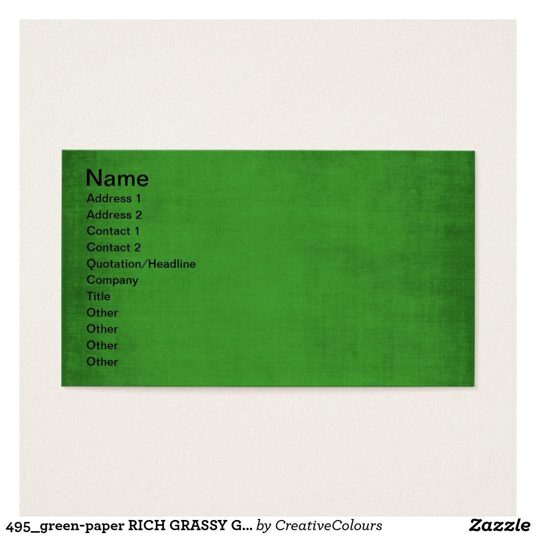 495 Green Paper RICH GRASSY GREEN TEMPLATE TEXTURE Business Card