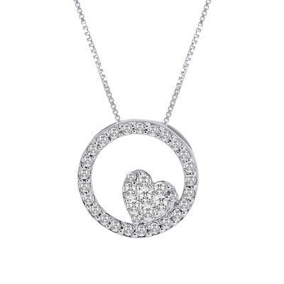 3 8 Ct T W Endless Diamond 174 Heart In Circle Pendant In
