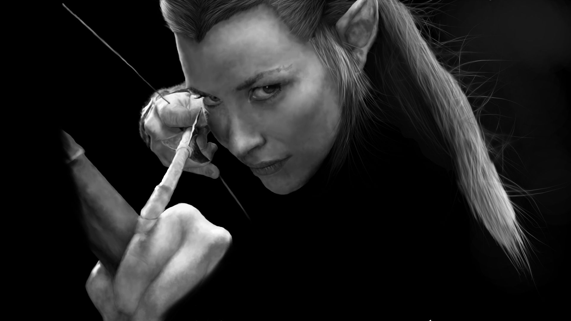 Image result for tauriel black and white