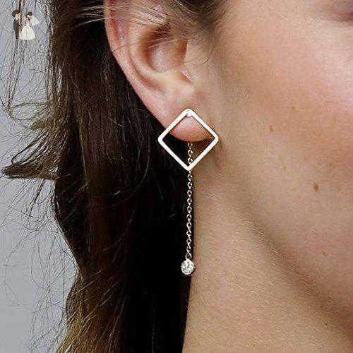 geometric jewelry Minimalist dangle gold triangle long earrings simple modern jewelry