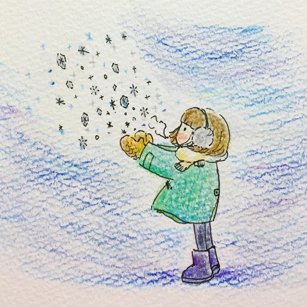 冬 Illustration 女の子 冬 雪 ゆるいイラスト 色鉛筆 色鉛筆 イラスト ゆるいイラスト 冬イラスト