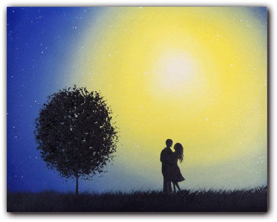 ORIGINAL Art Wall Decor Blue Moon Blue Night Sky by BingArt, $64.95