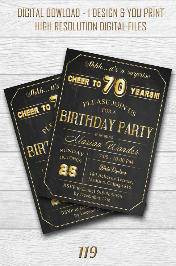 70th Birthday Invitation For Men 30th 40th 50th 60th 70th 80th