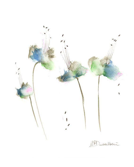 Watercolor Flowers Abstract Art Print Set Of 3 Nursery