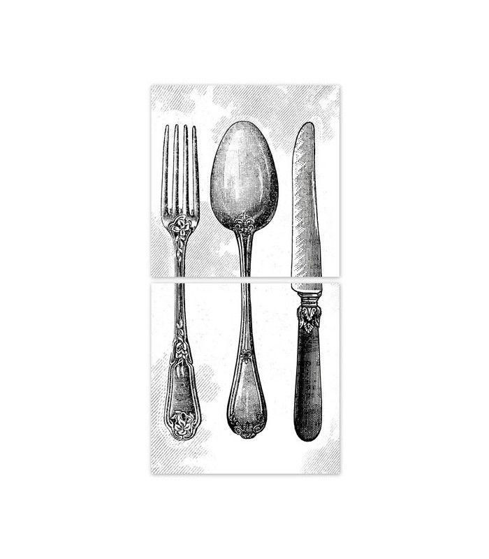 Stickers Pour Carrelage De Cuisine Couverts Silver | Cuisine