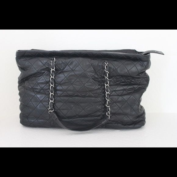 7dafdb253e91 Chanel Quilted Lambskin East-West Sharpei Tote Chanel Black Quilted Lambskin  Leather East-West