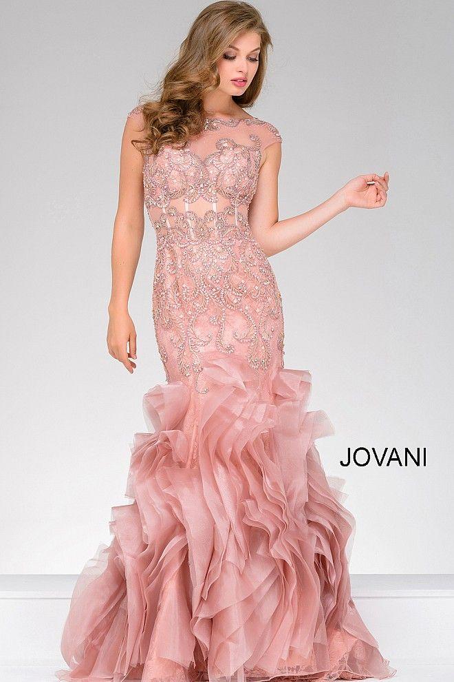 Rose color floor length beaded mermaid dress with cap sleeves ...