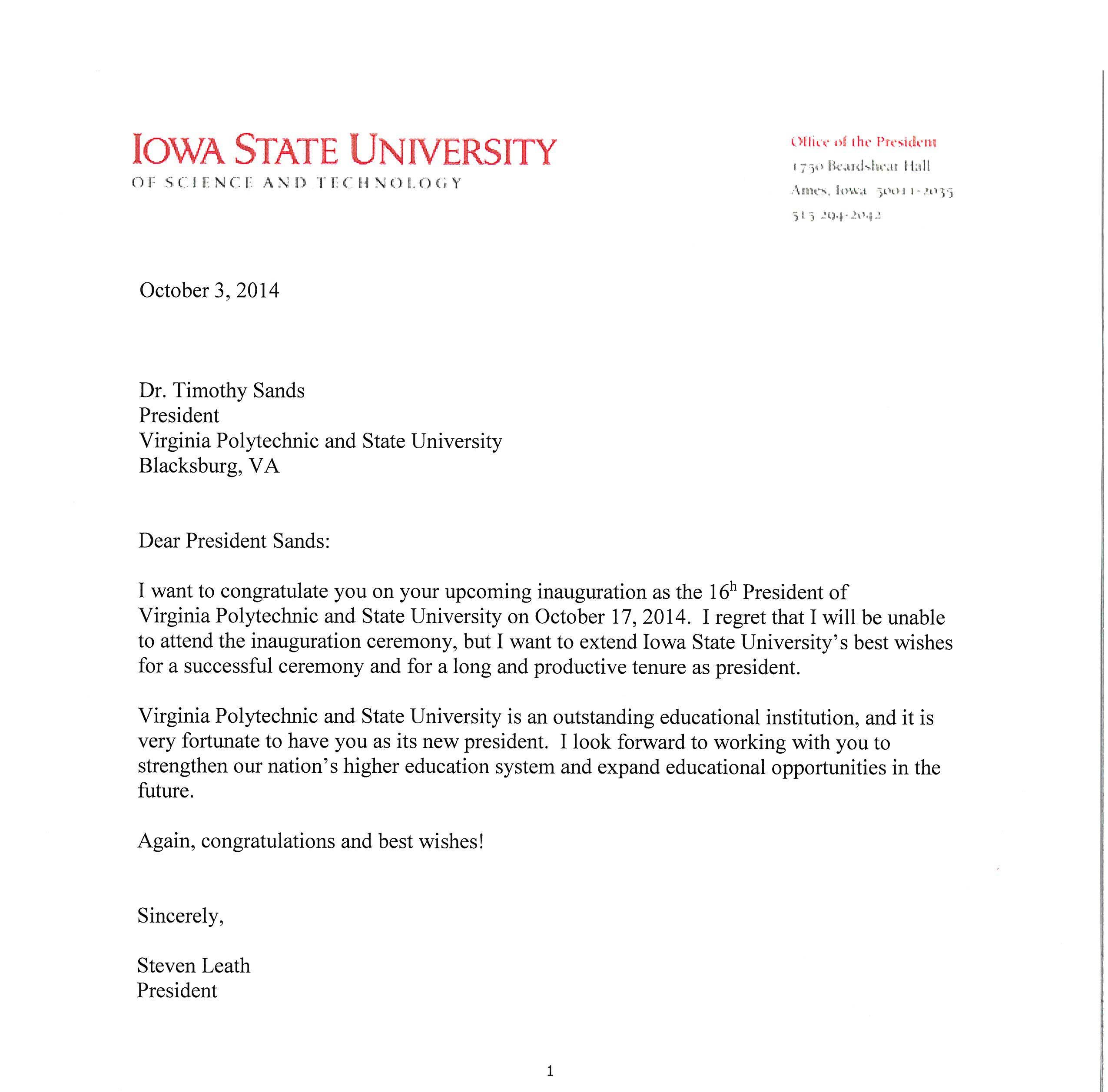 Police Chief Cover Letter Letter From Steven Leath President Of Iowa State University