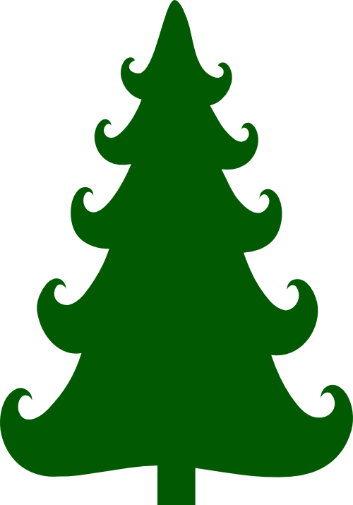 Curly Branch Christmas Tree Svg Christmas Tree Template Tree Svg Christmas Tree Silhouette