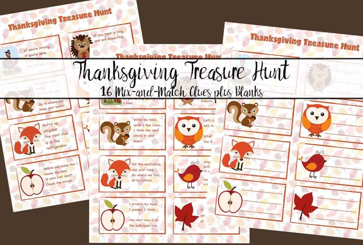 Free Printable Thanksgiving Treasure Hunt Fun For Kids