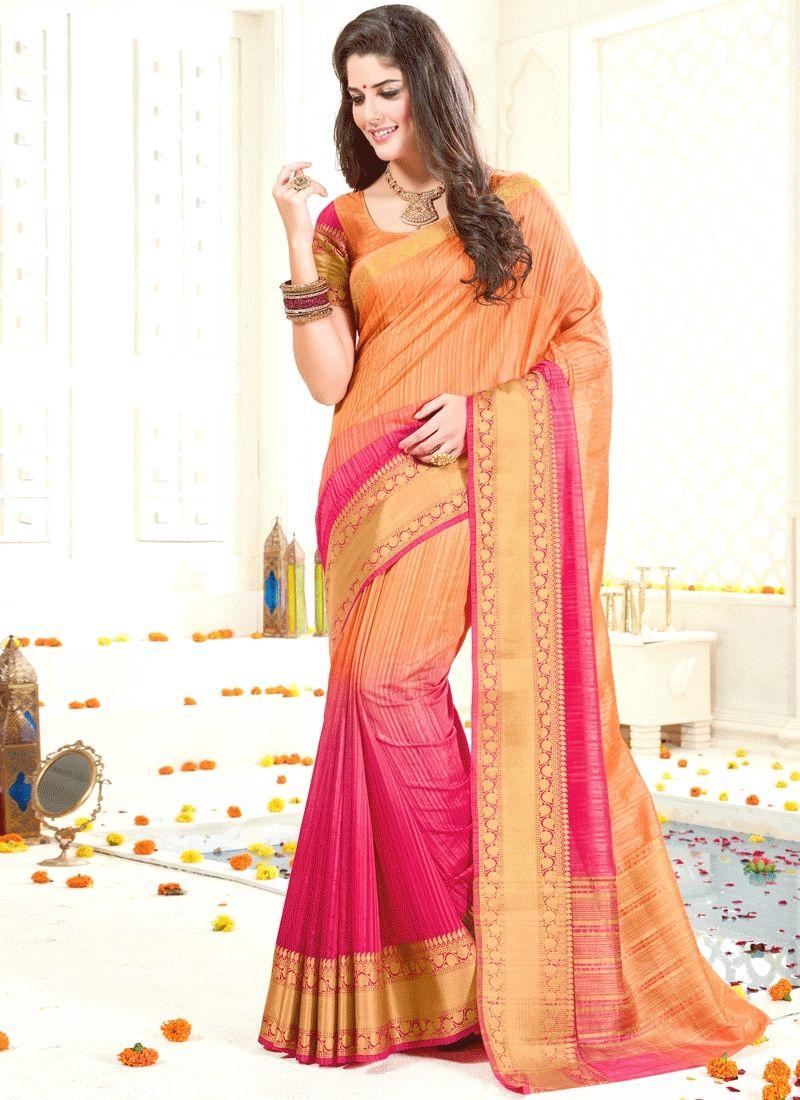Images of saree invigorating art silk peach and pink traditional designer saree