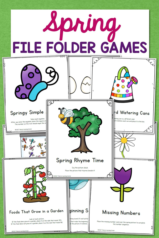 Spring File Folder Games 10 Different Activities For Preschool And Kindergarten Folder Games File Folder Games Spring Theme Preschool [ 1500 x 1000 Pixel ]