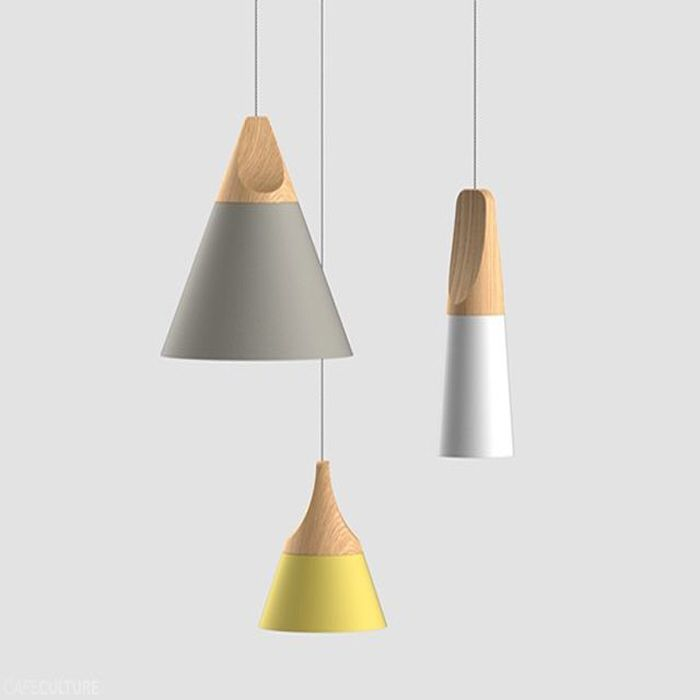 Modern Novelty Pendant Lights Colorful Restaurant Bar Lamps Siple Nordic IKEA Style Wood Iron Paint Process