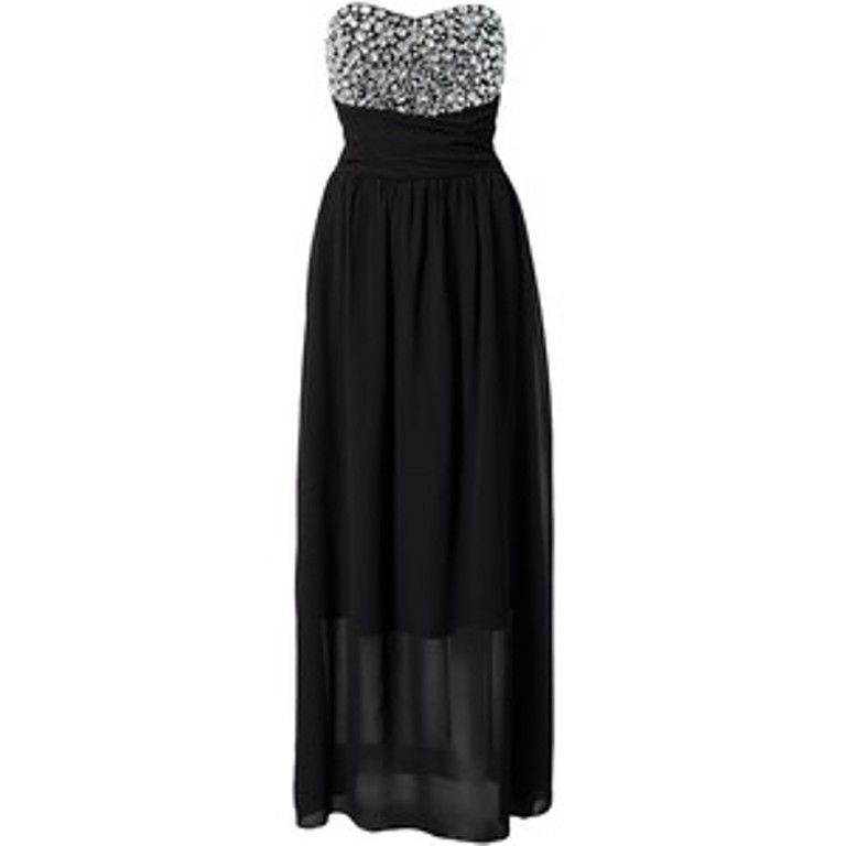 Te Amo Jewel Bustier Embelished Black Bandeau Maxi Party Dress